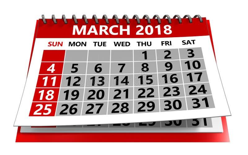 Kalender för mars 2018 arkivfoto