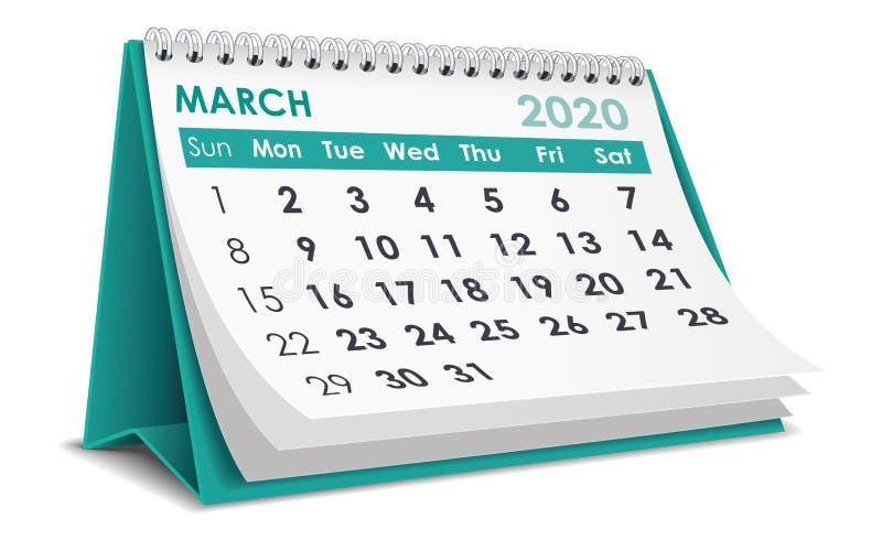 Kalender för mars 2020 stock illustrationer