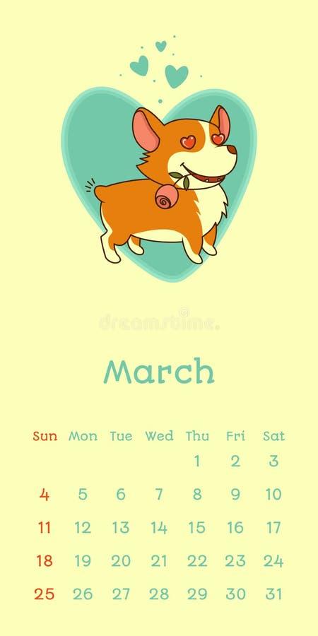 2018 kalender för marsch med den welsh corgihunden royaltyfri illustrationer