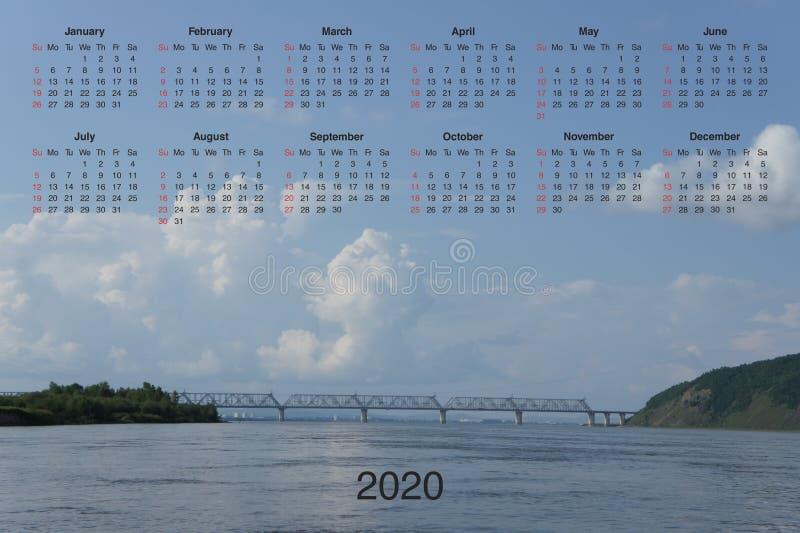 Kalender för 2020 vektor illustrationer