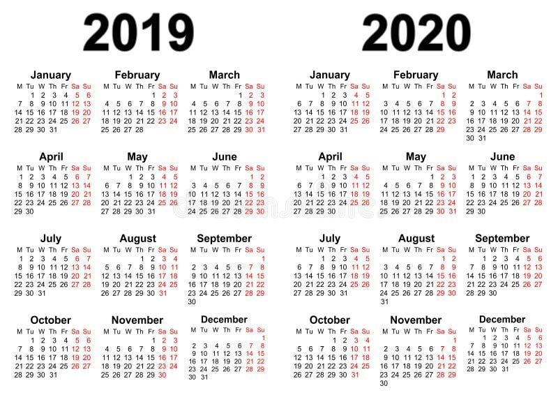 Kalender för 2019 och 2020 vektor illustrationer