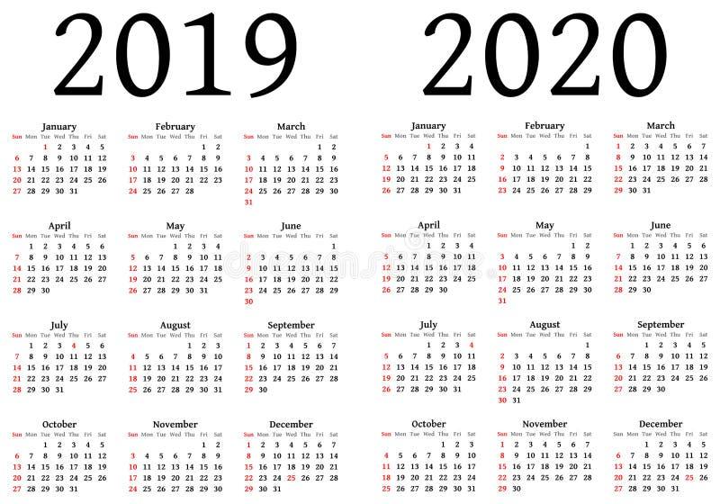 Kalender för 2019 och 2020 stock illustrationer