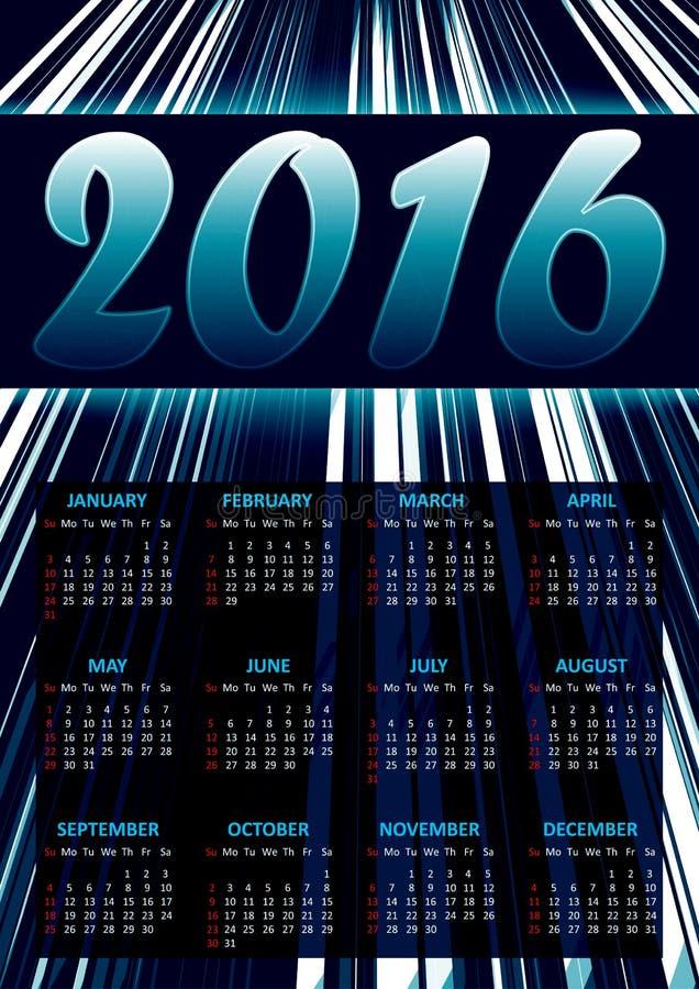 Kalender för 2016 på blåttabstrakt begreppbakgrund med att blänka band royaltyfri illustrationer