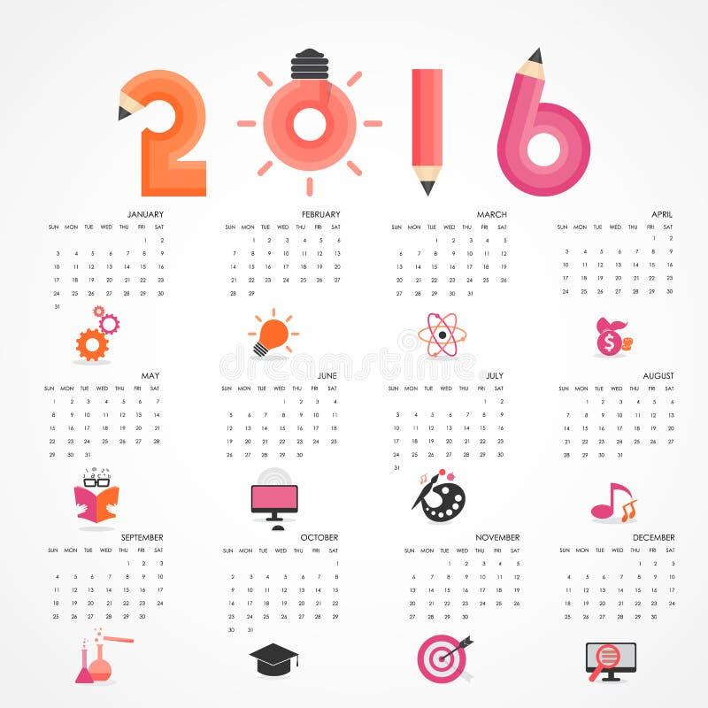Kalender för 2016 på grå bakgrund Affär utbildning, vetenskap, vektor illustrationer