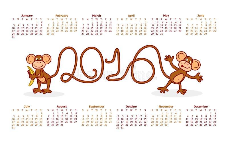 Kalender för 2016 roliga apor på en vit bakgrund vektor illustrationer