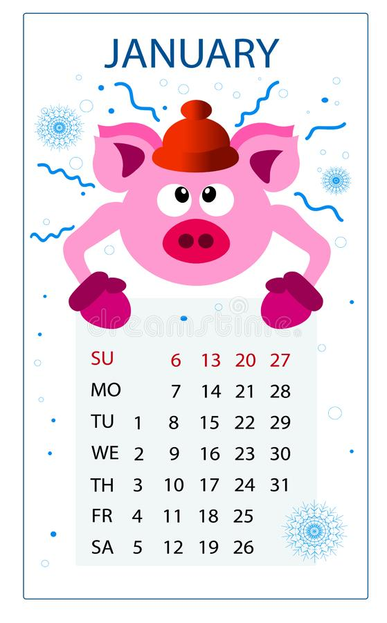 Kalender för svinet 2019; nytt år; Januari; stock illustrationer