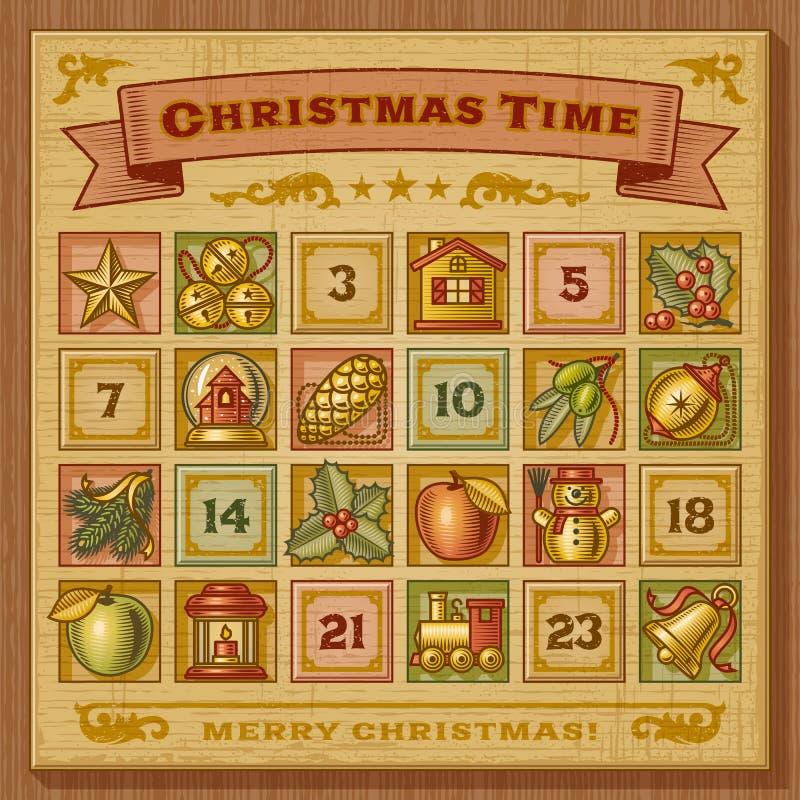 Kalender för tappningjulAdvent stock illustrationer