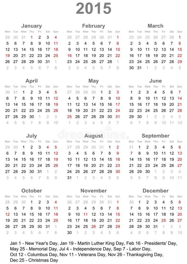 Kalender 2015 för USA royaltyfri illustrationer