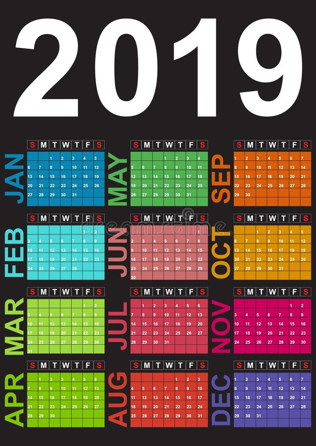 Kalender för 2019 Veckastarterna på söndag Färgrika färger vid månad stock illustrationer