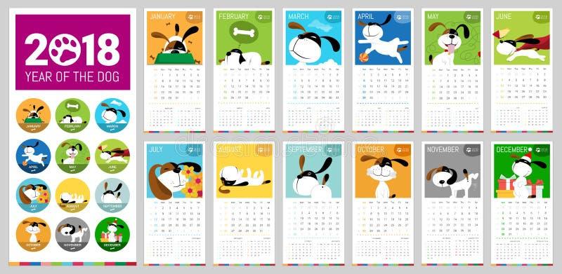 Kalender för vektor 2018 vektor illustrationer