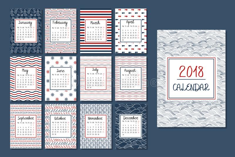 Kalender für 2018 vektor abbildung