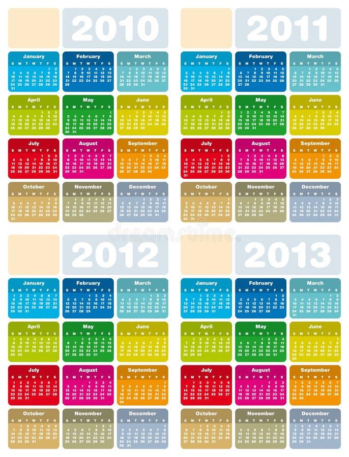 Kalender für 2010, 2011, 2012 und 2013 lizenzfreie abbildung