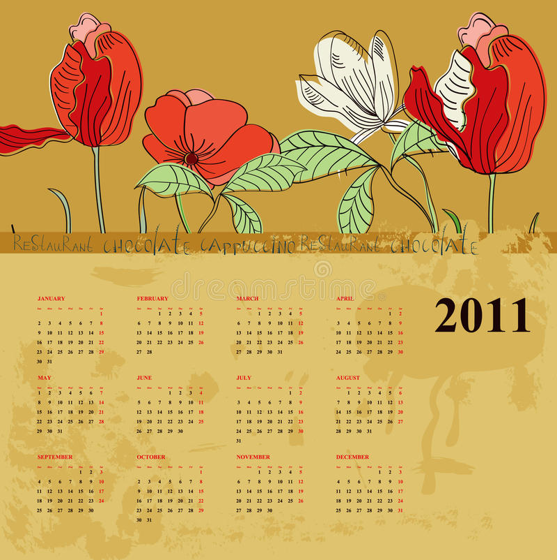 Kalender für 2011 mit Blumen vektor abbildung