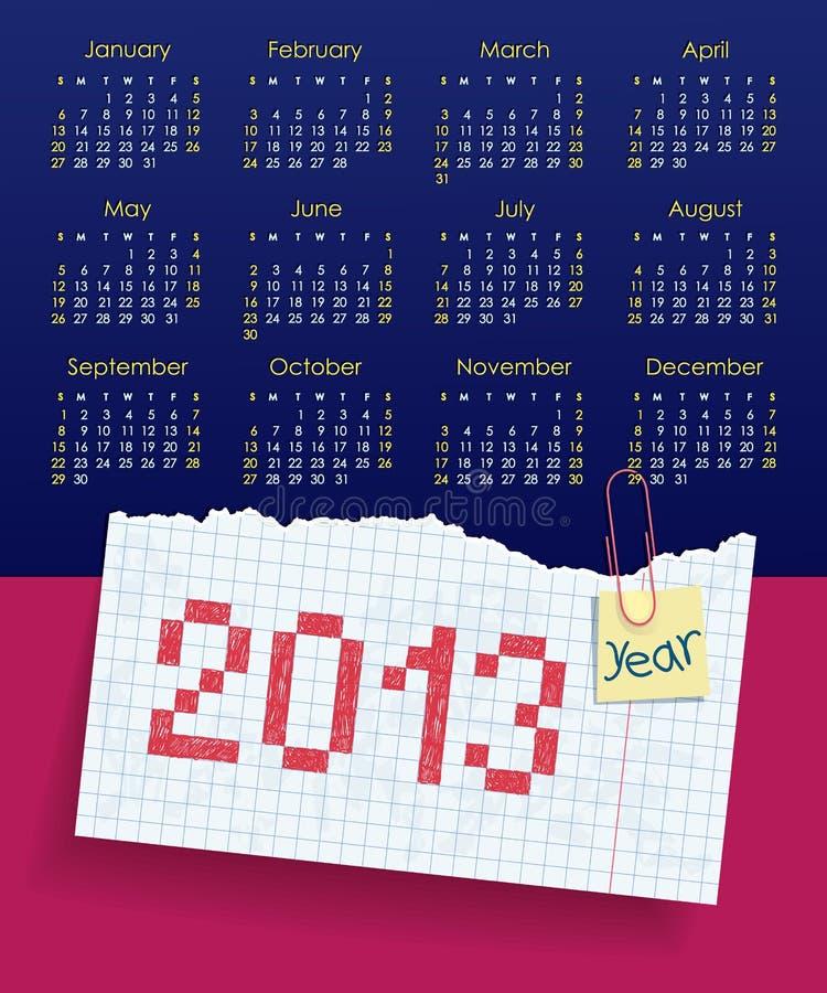 Download Kalender Für 2013. Wochenanfänge Am Sonntag. Das Scho Vektor Abbildung - Illustration von liste, schule: 26368450