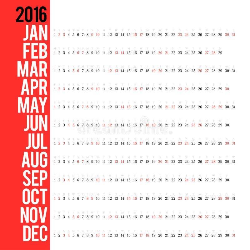 Kalender für 2016 stockfoto