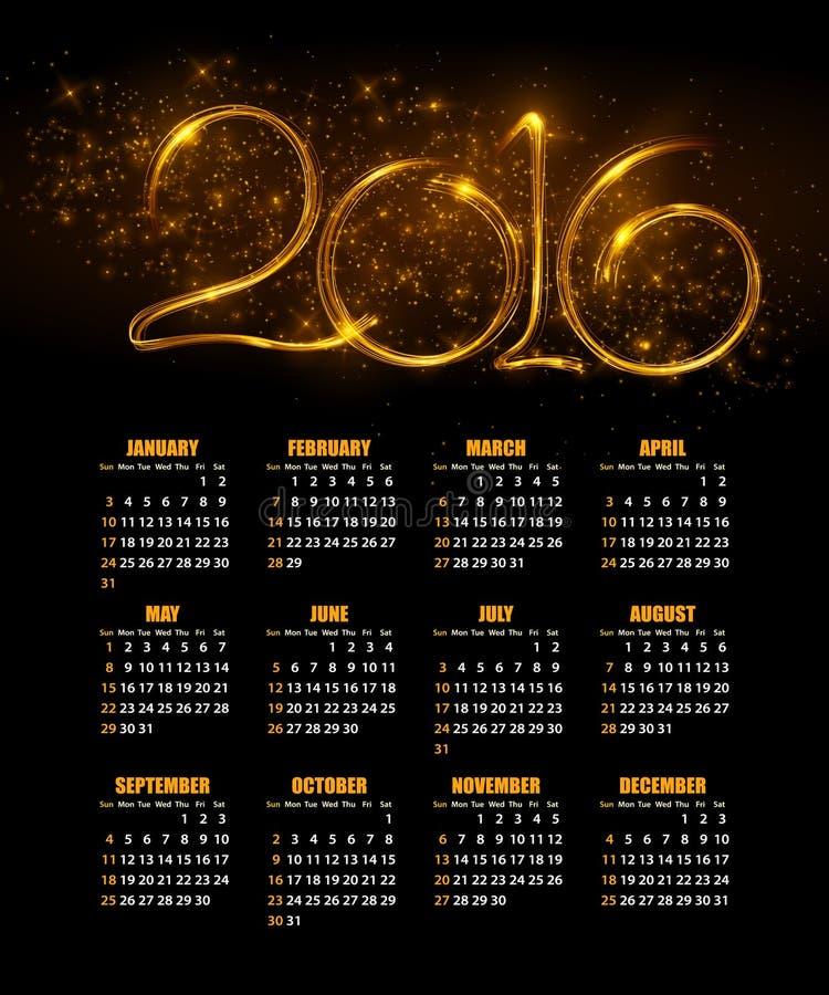 Kalender für 2016 auf abstraktem Hintergrund Vektor lizenzfreie abbildung