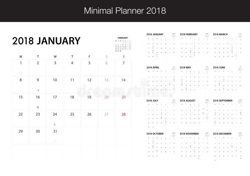 Kalender für 2018 auf weißem Hintergrund für Organisation und busin lizenzfreie abbildung