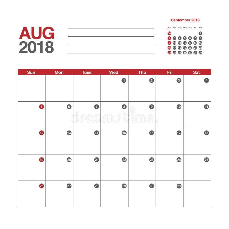 Kalender für August 2018 lizenzfreie abbildung