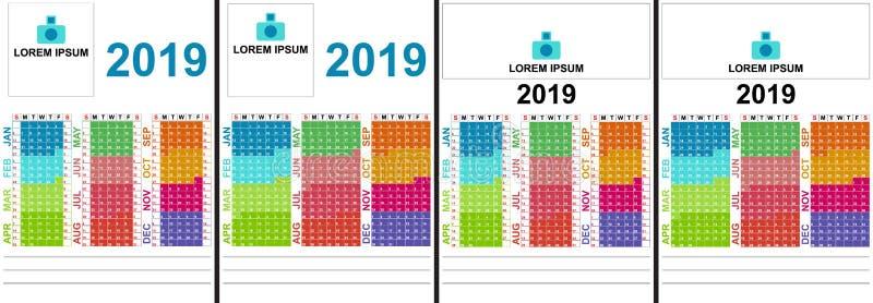 Kalender für 2019 Die Wochenanfänge am Sonntag Bunte Farben bis zum Monat vektor abbildung