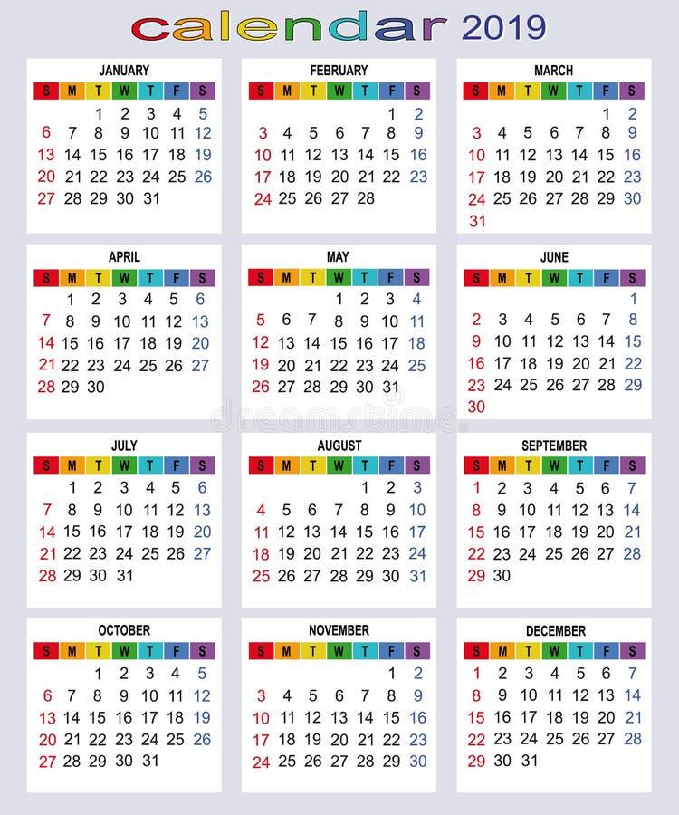 Kalender für 2019-jähriges Alle Tage stockbild