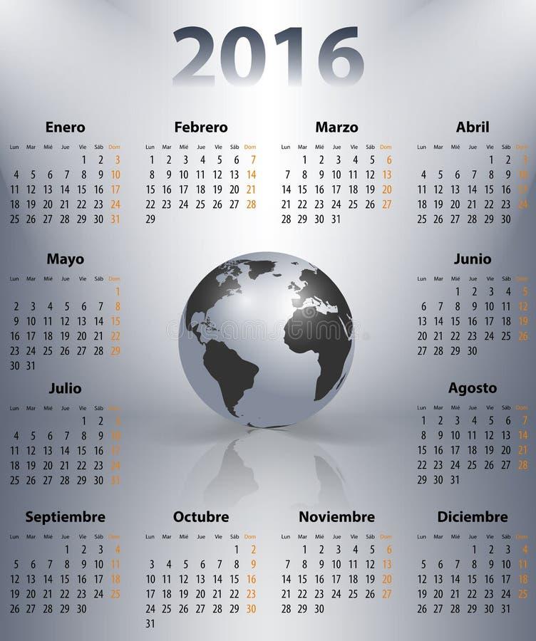 Kalender für 2016-jähriges auf spanisch mit der Weltkugel lizenzfreie abbildung