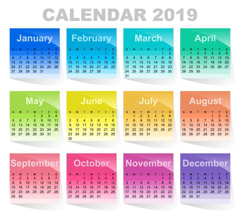 Kalender für 2019-jähriges Buntes klebriges Anmerkungs? Leerzeichen und bereiten für Exemplar vor farbige Blätter Papier stock abbildung