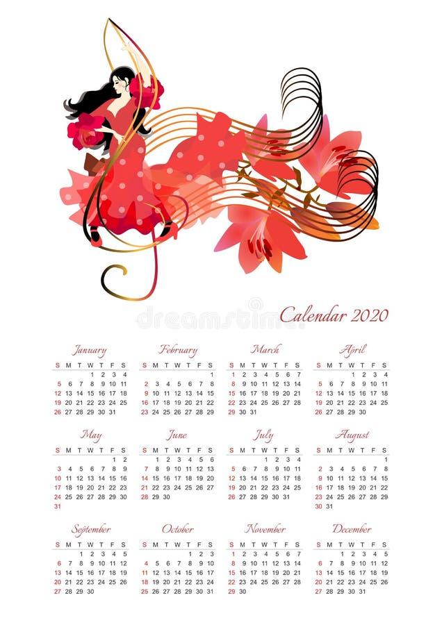 Kalender für 2020-jähriges mit schönem Mädchen in einem roten Kleidertanzen auf dem Violinschlüssel und dem Blumenstrauß von Lili lizenzfreie abbildung