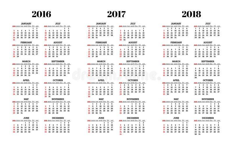 Kalender für 2016, 2017, 2018 Jahre auf weißem Hintergrundvektor vektor abbildung