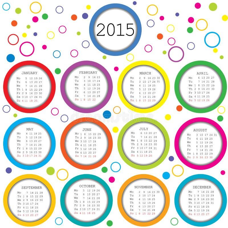 Kalender 2015 für Kinder mit farbigen Kreisen vektor abbildung