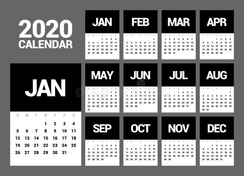 Kalender für 2020 neues Jahr in der einfachen Art der sauberen minimalen Tabelle vektor abbildung
