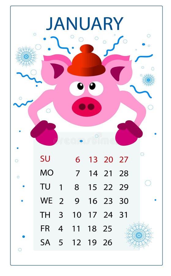 Kalender für Schwein 2019; neues Jahr; Januar; stock abbildung