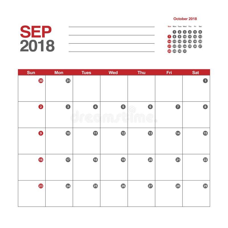 Kalender für September 2018 vektor abbildung