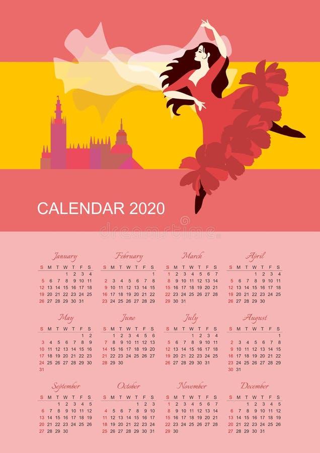 Kalender f?r 2020-j?hriges Wochenanf?nge am Sonntag Schönes Mädchen mit dem flatternden Haar, tanzender Flamenco stock abbildung