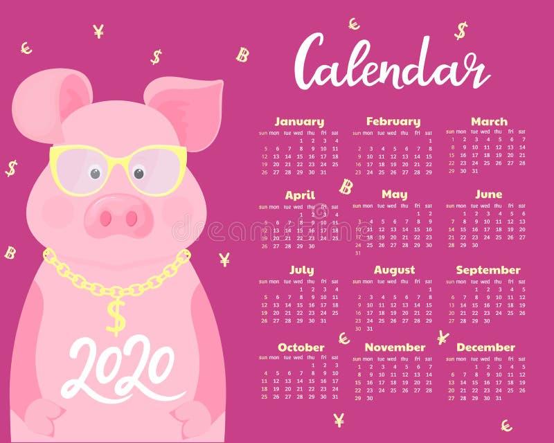 Kalender f?r 2020 Veckastart p? s?ndag Gulligt svin i exponeringsglas med dollartecknet p? en guld- kedja roligt djur royaltyfri illustrationer