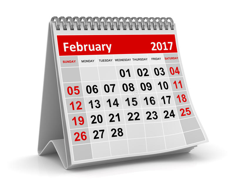Kalender - Februari 2017 royaltyfri illustrationer