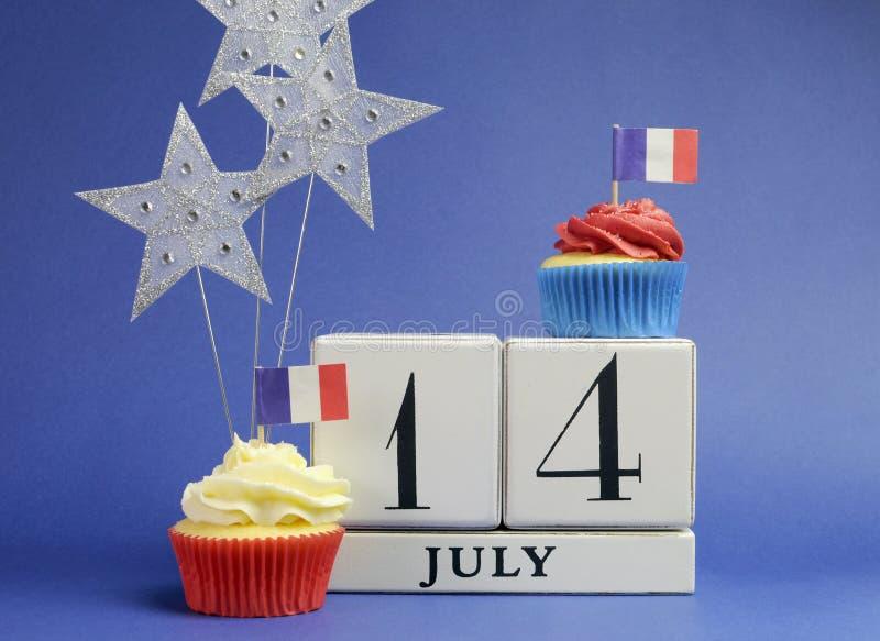 Kalender Frankrike för nationell ferie, 14 Juli som är fjortonde av Juli, Bastilledag royaltyfria foton