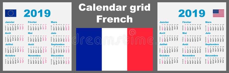 Kalender franska Frankrike 2019 Fastställd mall för illustration för rasterväggISO 8601 med att numrera för vecka vektor stock illustrationer