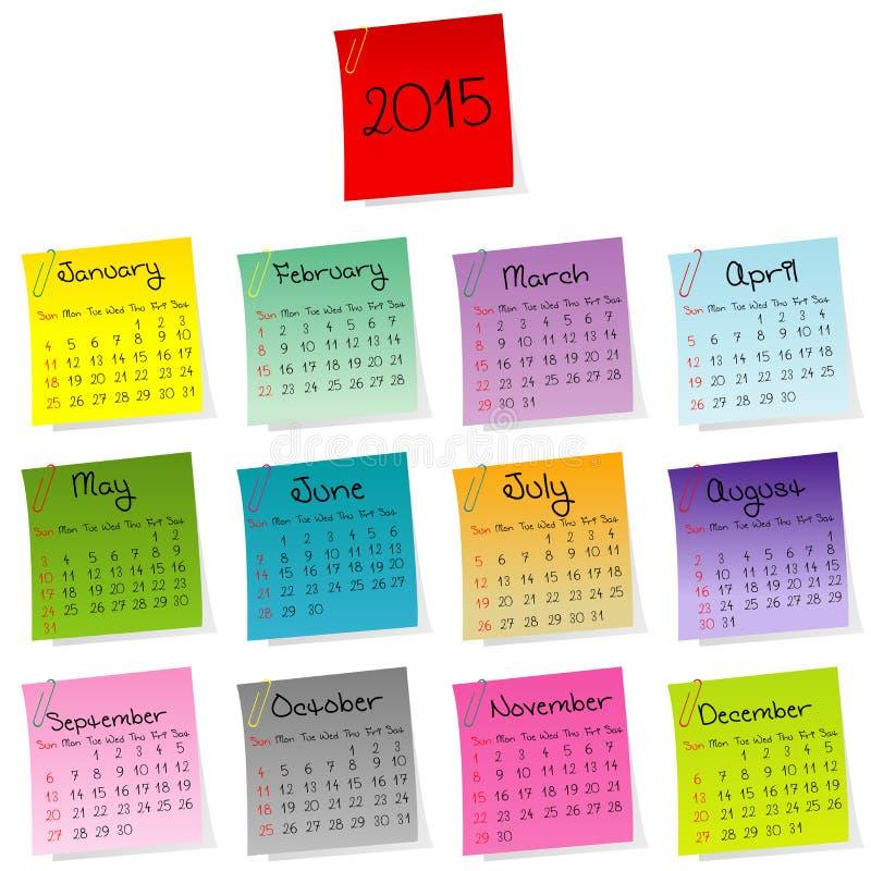 Kalender 2015 gemacht von farbigen Blättern Papier vektor abbildung