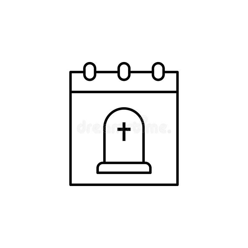 kalender, het pictogram van het doodsoverzicht gedetailleerde reeks pictogrammen van doodsillustraties Kan voor Web, embleem, mob royalty-vrije illustratie