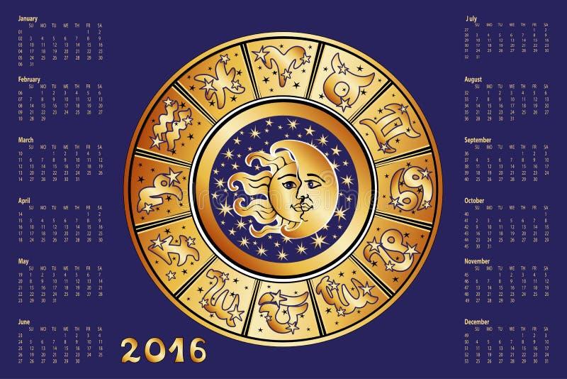 Kalender 2016 Horoskopcirkel, zodiaktecken vektor illustrationer