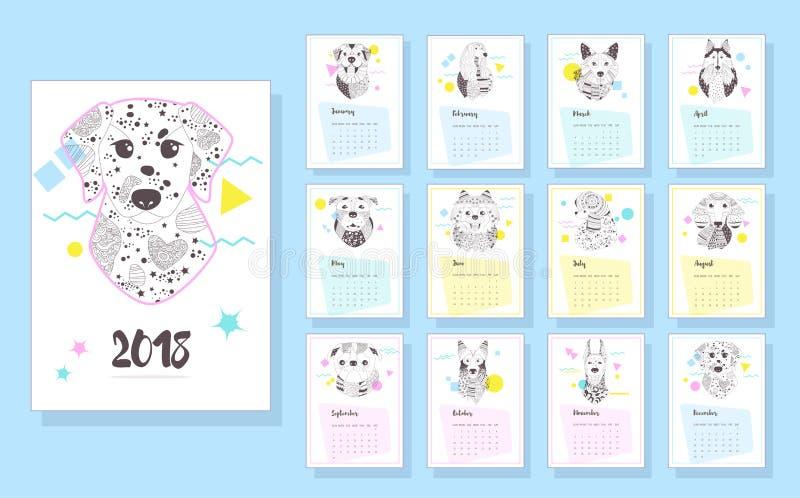 Kalender 2018 hundar royaltyfri illustrationer