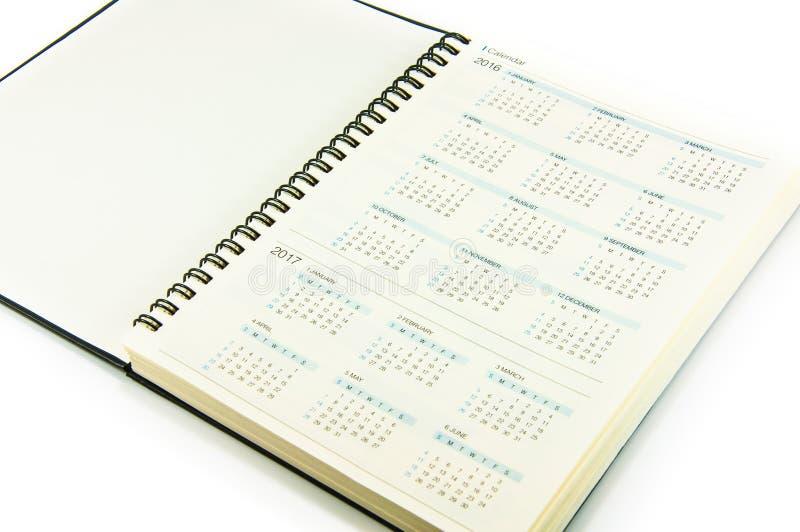 Kalender i anteckningsbok royaltyfri bild