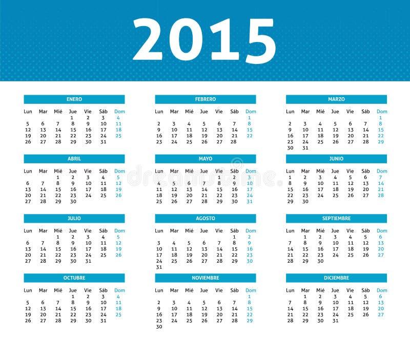 kalender 2015 i blå rastrerad stil (måndag till söndag) i Spani vektor illustrationer
