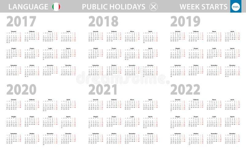 Kalender i det italienska språket för året 2017-2022 Veckan startar fr?n m?ndag royaltyfri illustrationer