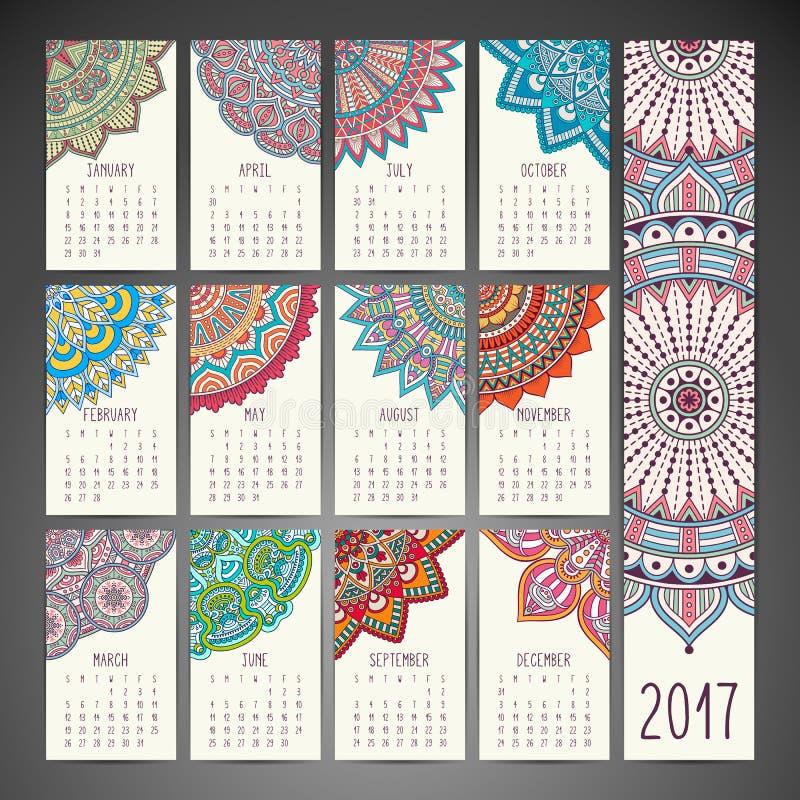 Kalender i etnisk stil stock illustrationer