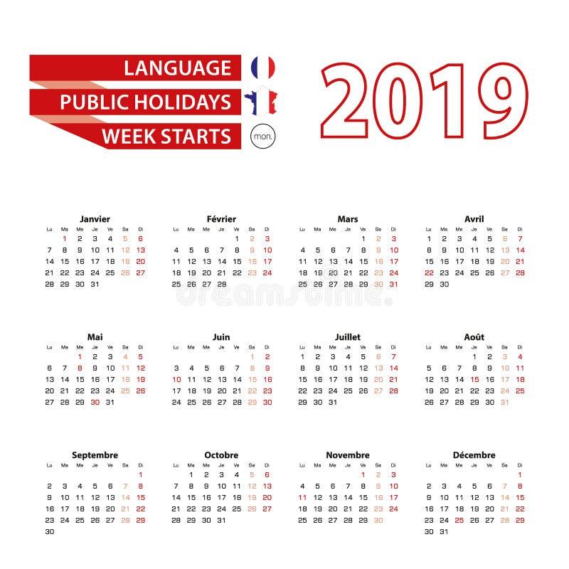 Kalender 2019 i franskt språk med offentliga ferier countren vektor illustrationer