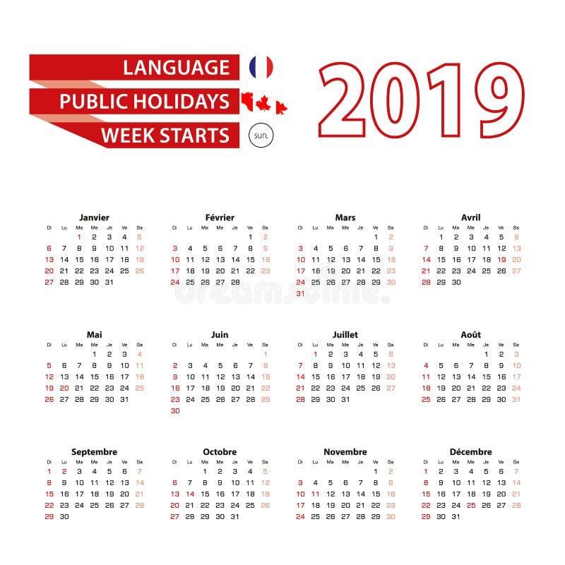 Kalender 2019 i franskt språk med offentliga ferier countren royaltyfri illustrationer