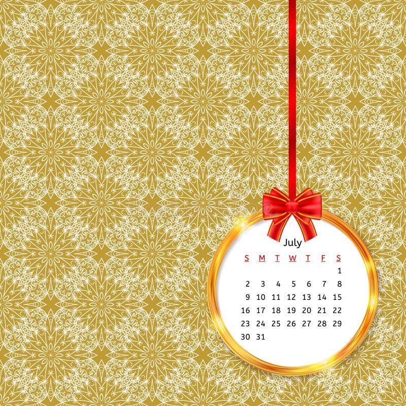 Kalender 2017 i guld- cirkelram med den röda pilbågen på sömlös modell för tappningdekor vektor illustrationer