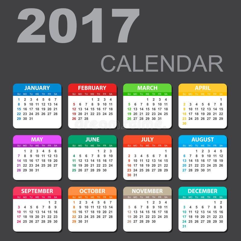 Kalender 2017 i horisontalstil royaltyfri illustrationer