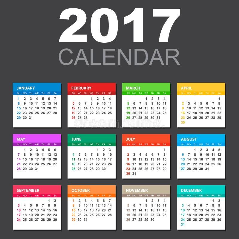 Kalender 2017 i horisontalstil stock illustrationer